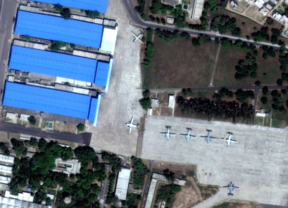 Digital Globe imagery from 28 April 2012 show seven An-32 Cline parked near three primary maintenance hangars at India's Kanpur Air Force Station's repair depot in Uttar Pradesh.