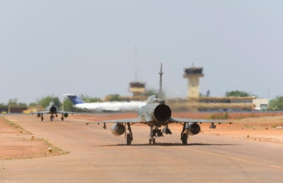 French pilots flying the Mirage 2000D and F1 prepare to take off at Mali's Bamako airport.