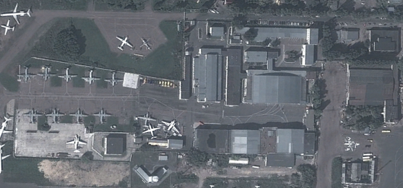 GeoEye imagery from 14 September 2012 shows at least four of India's fourth batch of An-32REs parked on the maintenance apron at Kiev International Airport, recently modernized at the co-located Kiev State Enterprises Plant 410 (ГОСУДАРСТВЕННОЕ ПРЕДПРИЯТИЕ «ЗАВОД 410 ГА»).